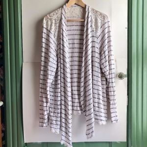 MAURICES White Burgundy Red Striped Lace Cardigan